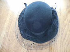 vintage black felt hat with veil Excello