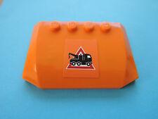 Lego 1 x Dach Motorhaube 52031pb009  orange Sticker 7631