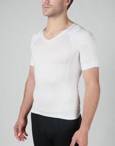 INTELLISKIN Men's Essential Tee V-Neck SMALL w/ PostureCue WHITE Model: 32101