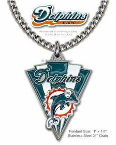 MIAMI DOLPHINS NECKLACE STAINLESS STEEL CHAIN NFL FOOTBALL SPORTS FREE SHIP  CA