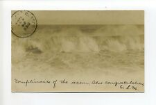 """Gloucester MA Mass RPPC real photo, surf, """"Compliments of the Season"""", 1904"""