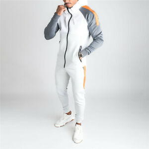 Mens Tracksuit 2 Piece Casual Pant Sweater Sweatsuit Sport Sweatshirt Set