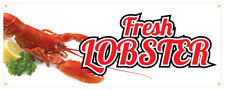 Fresh Lobster Banner Seafood Farmers Market Retail Store Sign 24x72