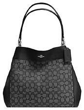 NWT Coach F57612 Outline Signature Lexy Shoulder Handbag Black Smoke MSRP $375