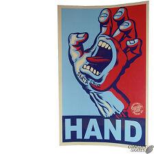 "SANTA CRUZ ""Screaming Hand - Yes Hand "" Skateboard Sticker BLUE/RED Old Skool"