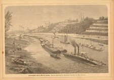 Dresden, Germany, On The Elbe River, Barges, Vintage 1882 Antique Art Print