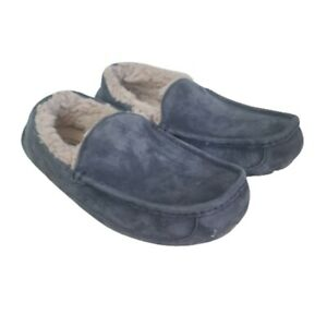 Womens Blue Grey UGG Fuzzy Lined Slippers Women's Size 8