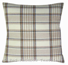 Tartan Brown, Latte & Cream 18 inch Cushion Cover Soft Woven Tweed Check Fabric