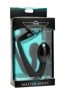SILICONE COCK RING & PROSTATE PLUG MASTER SERIES PROSTATIC PLAY BLACK