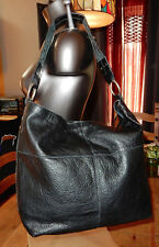 Huge LUCKY BRAND Black Thick LEATHER HOBO Shoulder BAG w/STUDDED Handle
