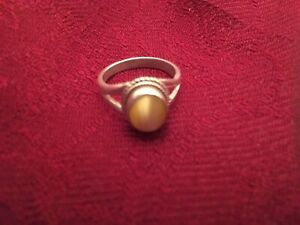 Sterling Silver YELLOW FIBER OPTIC Bead Ring, SIZE 7