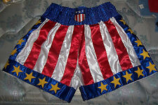 USA Flag Pro Amateure Star Boxing Boxer Fighter Fight MMA Trunks Shorts Rocky  L