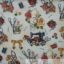 BonEful Fabric FQ Cotton Quilt Cream Black VTG Old Antique Sewing Machine Flower