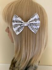 Music note print hair bow clip girls retro rockabilly pin up vintage black white