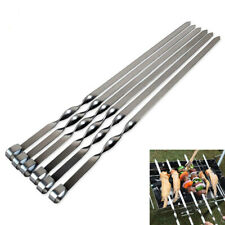 10Pcs Stainless Steel Barbecue Metal Skewers Flat Needle BBQ Kebab Stick Tools