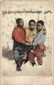 G19/ Black Americana Postcard Comic c1910 Brotherly Love Cotton 12