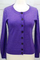 BANANA REPUBLIC Cardigan Sweater Merino Wool Crewneck Purple Women's Small