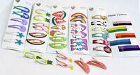 Kids Girls Bendies Sleepies Hair Snap Clip Slides - Novelty Design Set