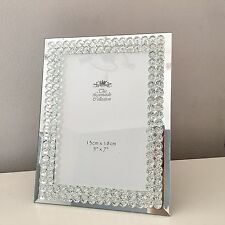 CRYSTAL DIAMANTE MIRRORED PHOTO PICTURE FRAME SIZE 5 X 7 INCH FREESTANDING GIFT