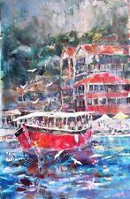 """NEW BEAUTIFUL SERA KNIGHT ORIGINAL """"Tour Boats at Kekova, Turkey"""" PAINTING"""