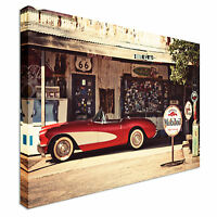 Vintage Car advert Canvas Wall Art Picture Print