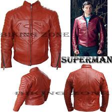 SUPERMAN stile (Clark Kent-SMALLVILLE) DA UOMO ROSSO FASHION LEATHER JACKET