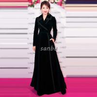 Women Winter Velvet Coat Long Jacket Slim Runway Fashion Casual Outwear Overcoat