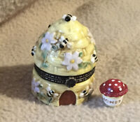 Porcelain Mini Trinket Box BEEHIVE with HONEY POT Inside BEE HIVE