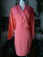 Womens Vintage Cropped 80's Jacket Blazer Suit LA BELLE FASHION INC Salmon Pink