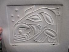 Impressed Paper Art by Edward Raub -SALMON- Signed Native American Tribal Artist