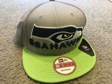 NEW ERA 9FIFTY Seattle Seahawks Logo Flatbill Snapback Adjustable Cap Hat