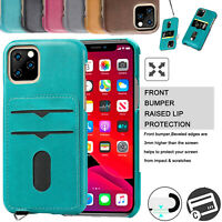 For iPhone 11 Pro Max Shockproof Leather Credit Card Slot Wallet Case Back Cover
