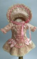 Beautiful silk Bebe doll dress, and hat , German/French antique doll