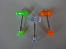 SET 3 x Zungenpiercing PIMP Penis 6 x 12 mm Acryl Stab 316 L Party Gag tongue