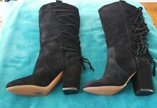 NINE WEST Black Suede Boots Fringe Leather SZ 5M Boho Leather Nina Proudman B43
