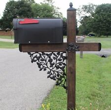 Rose Pattern Wrought Iron Mailbox Post Accessory Set with Pineapple top, Mailbox