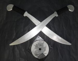 Training Sword Practice Aluminum Lahot Metal Swords Set Double DVD