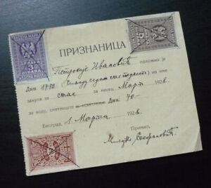 Yugoslavia 1928 Revenue Stamps on Document B1