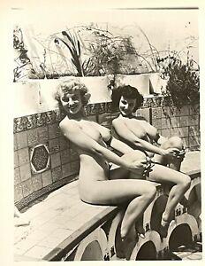 Vintage Gelatin Photo Spider Pool Models Donna Brown Debbie Reynolds Huge Tits