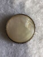 Antique Victorian Silver Brooch Mother Of Pearl Sterling Retro Replacement Pin