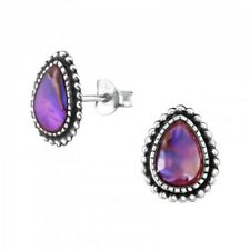 Abalone Shell Pink Pear Sterling Silver Stud Earrings