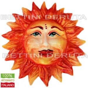 Sole ceramica interamente decorato dipinto a mano Maiolica Italiana cm 20 Lucido