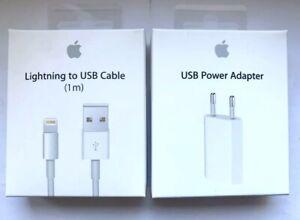 CARICA BATTERIE SPINA USB ORIGINALE APPLE PER IPHONE + CAVO USB 5 6 7 8 X XR XS
