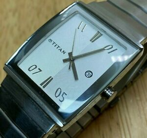 Titan India Mens Silver Steel Barrel Analog Quartz Watch Hours~Date~New Battery