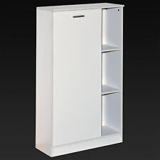 WHITE WOODEN BATHROOM CABINET SHELVING STORAGE UNIT CUPBOARD STORE SHELVES SHELF