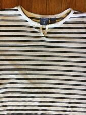Mountain Lake L Blue White Cotton Polyester Striped Short Sleeve Casual Top CAY2