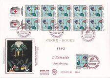 Enveloppe grand format 1er jour 1992 Croix Rouge L'entraide strasbourg