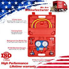 R134a R410a R12 Hvac Air Refrigeration Set Kit Ac Manifold Gauge Diagnostic Tool