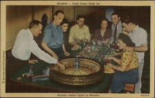 Playing Roulette in Las Vegas NV Gambling Line Postcard rpx