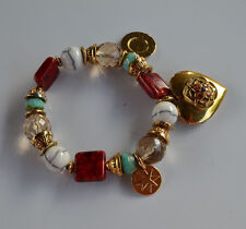 Signed LGS France goldtone turquoise red glass big heart charm stretch bracelet